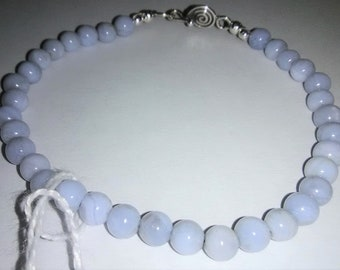 Blue Lace Agate Sterling Silver Gemstone Bracelet 7.75 inches long