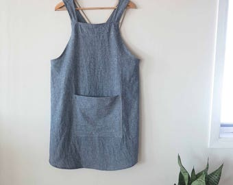 Japanese apron cross back apron linen blend pinafore with pocket