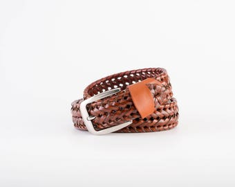 Braided leather belt, Tan belt, Men's leather belt, Stainless steel buckle