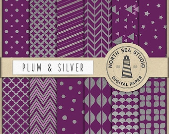 BUY5FOR8, Premium Silver Foil Digital Paper, Silver Patterns, Shiny Metallic Backgrounds, Silver Texture, Scrapbook Paper