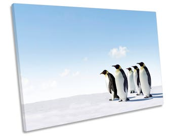 Penguins Wildlife Blue CANVAS WALL ART Print Picture Box Framed