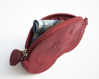 Monedero bicicletero - 100% piel - Monedero de piel, Monedero con bicicleta grabada, Leather purse, Bicycle purse, Bike purse