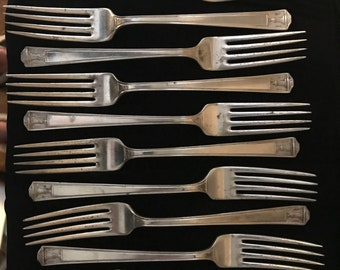 Vintage 1923 Holmes and Edwards Super Plate Inlaid Silver Plate Classical Greco-Roman Key & Roman Columns Flatware