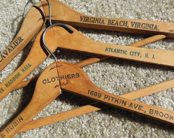 Vintage Wooden Hangers, Group of 3 Different Locales