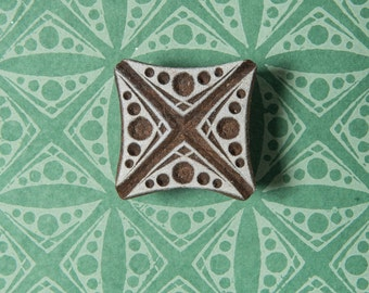 Indian Wood Stamp, Dotted Square