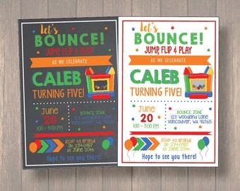 bounce house Birthday Invitation, bounce party, party invitation printable, bouncy house party, digital file, boy birthday invitaiton