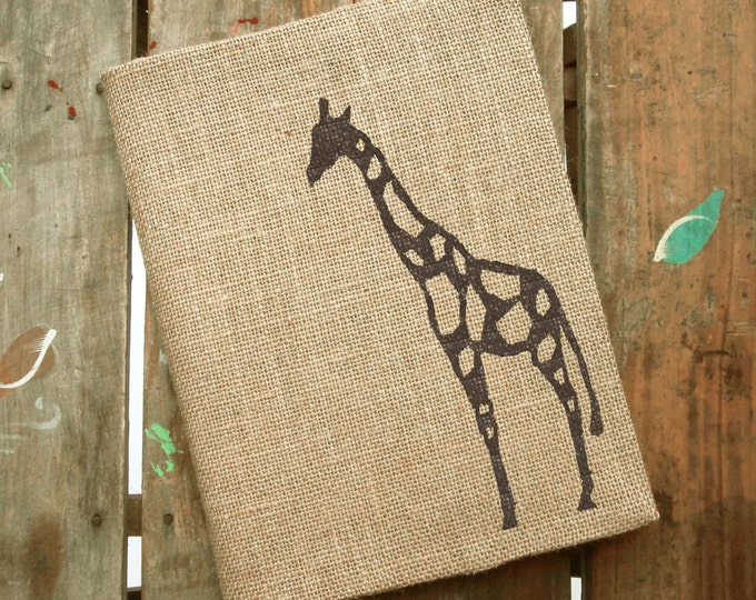 The Charming Giraffe -  Burlap Journal  Refillable -  Notebook included - Composition Notebook Cover - Giraffe  Journal - Sketchbook