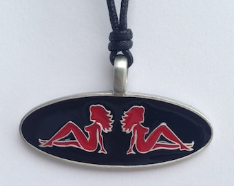 Biker woman red silhouette pewter pendant with expandable necklace