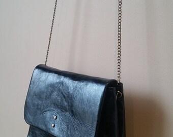 STOCKHOLM: Metallic Sapphire leather bag