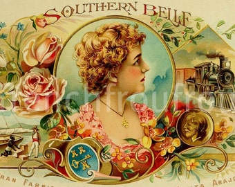antique victorian southern belle pinup cigar box label 1905 lithograph DIGITAL