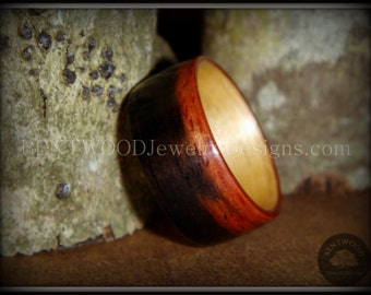 Bentwood Striped Macassar Ebony Wood Ring with Maple Liner Handcrafted Durable and Unique