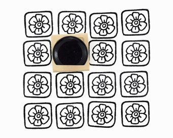 Rubber Stamp Boxed Flower Pattern | Flower Pattern Stamp