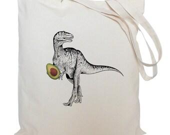Tote bag/ drawstring bag/ dinosaur with a avocado/ T-Rex/ cotton bag/ material shopping bag/ shoe bag/ market bag