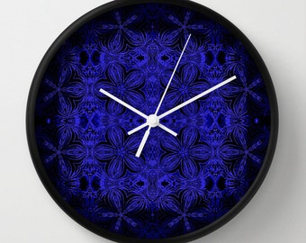 Clock, Blue & Black Clock, Wall Clock, Floral Clock, Blue Clock, Home Decor, Kitchen Clock, Black and Blue, Blue Floral Clock