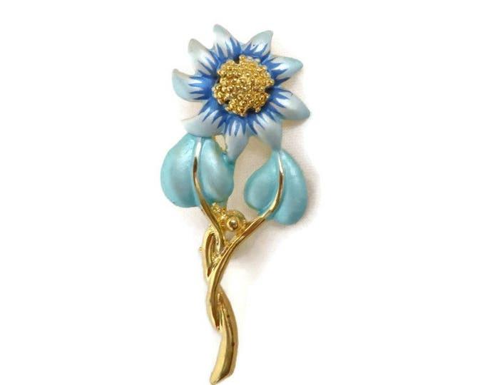 Blue & Green Daisy Brooch - Vintage Enameled Gold Tone Brooch