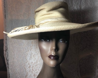Nice Off White Synthetic  Straw Hat