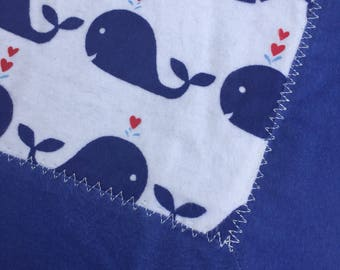 Whale Flannel Receiving Blanket with Contrasting Trim