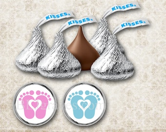 108 Hershey Kiss Stickers For Baby Shower, Feet Stickers Party Favor Baby Shower Voting, Favor Tags KS001
