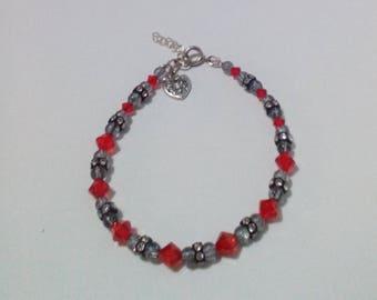 Swarovski Red+Clear+Black Crystal Bead Bracelet