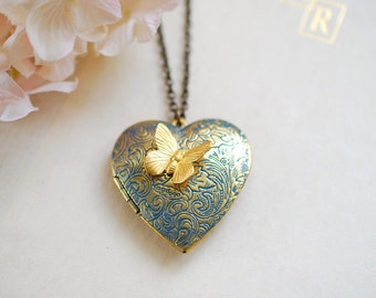 Mothers Day gift for women, gift for mom wife girlfriend, Heart Locket Necklace, Butterfly necklace, butterfly jewelry, gift for her