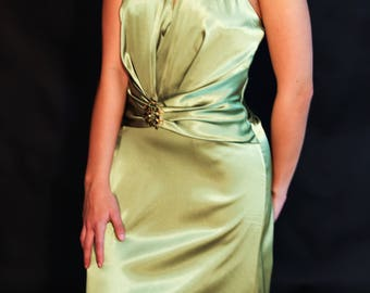 Satin green evening gown