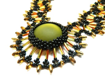 Green and Amber Beadwork Necklace: Medusa