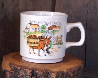 Ireland Mug ~ Irish Scene ~ Man and Potato Laden Donkey ~ Souvenir of Ireland ~ Kerry Bog Village ~ Ring of Kerry ~ Emerald Isle
