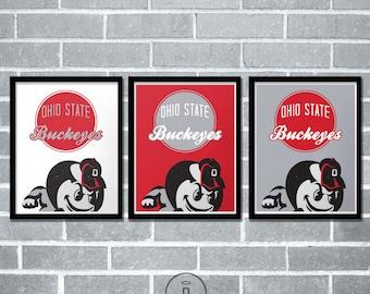Ohio State Buckeyes Graphic Print - The Ohio State University Brutus Logo Poster
