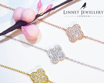 Clover Bracelet Cz Gold Vermeil 925 Silver Yellow Rose