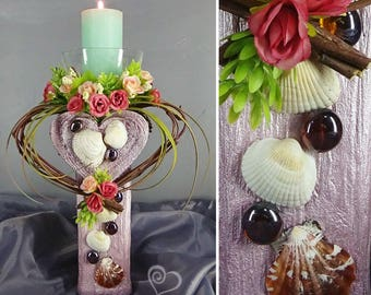 """Decorative candlestick with flowers """"Heart"""", decor Provence"""