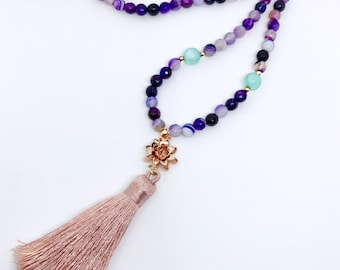 Purple Mala Beads Necklace, 108 Mala Beads, Healing Gemstone Mala, Tassel Necklace, Mala Beads, Meditation Beads Necklace, Yoga Necklace