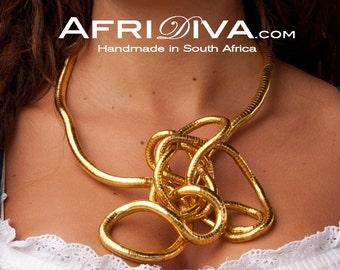 AfriDiva GOLD - Necklace, Bracelet or Ring! Endless flexible jewellery. Handmade out of 100% recycling material.