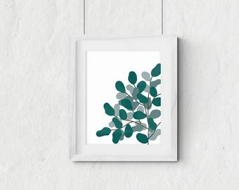 Fig tree illustration - green plant - plant poster - plant lady art - houseplant - printable wall art - digital wall decor -INSTANT DOWNLOAD