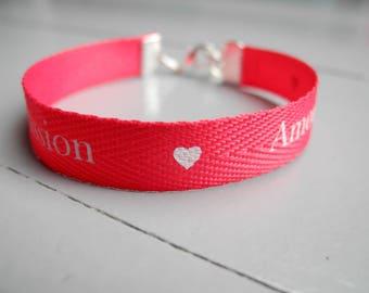 Ribbon cotton message love and heart metal charm bracelet