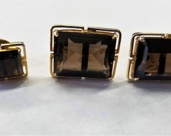 Vintage Smoky Quartz Cuff Links with Matching Tie Tack Set