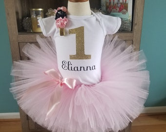 Pink, Gold, and Black Tutu Outfit