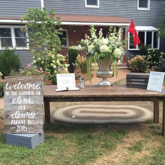 Personalized Rustic wedding sign, decor, hand painted wooden signage, extra large, arrow ceremony/reception sign, photo prop