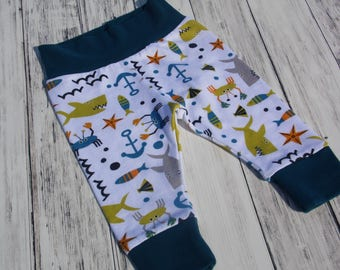Baby Leggings Clothing Newborn Outfit Gender Neutral Ocean Sharks Nautical Coming Home Outfit Going Home Baby Shower Gift Coming Home Outfit