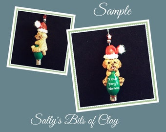 Golden Doodle Santa Dog Christmas Light Bulb Ornament Sally's Bits of Clay PERSONALIZED FREE with dog's name