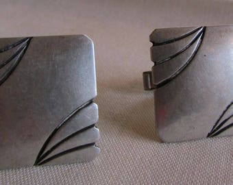 Sterling Silver Rectangular Cuff Links by Elias