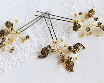 Gold Bridal Hair Pins, Leaves Bobby Pins, Wedding Hair Clips, Small Bridal Pins, Gold Leaf Hair Pins, Wedding Bobby Pins, Gold Hair Pins
