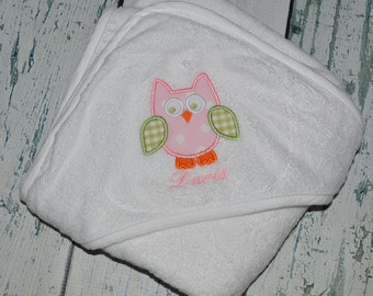 Personalized Owl Infant Hooded Towel Monogrammed Baby Shower Gift