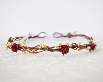Rose Flower Crown, red rose flower crown, gold pip, winter wedding, bridal flower crown, flowergirl garland, floral crown, bridesmaid, LAYNA