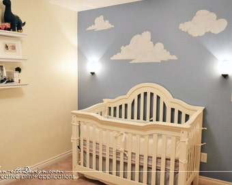 Nursery Wall Decals, Sketch Style Nursery Clouds Fabric Wall Decal Set