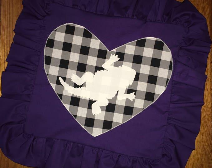 Purple Ruffled Buffalo Plaid TCU Horned Frog Pillow 16x16 Pillow Cover TCU home Decor TCU pillow Farmhouse Decor Christmas valentines