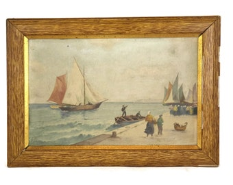 Antique French Breton Coastal Painting. Original Nautical Wall Art. Signed Original Sailboat Gouache. Framed Seascape. Office Decor.