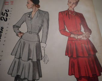 Vintage 1940's Simplicity 2278 Dress Sewing Pattern Size 16 Bust 34