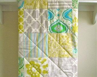 Baby Quilt, Modern Quilt, Baby Quilt for Sale, Boy, Girl, Citron, Grey, Blue, Green, Nursery Crib Bedding, Baby Blanket - Sunny Citron