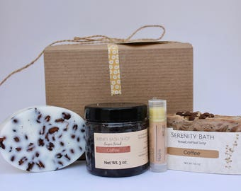 Coffee bath and body gift box, spa gift set for her, coffee lover gift box, gifts for mom, mother in law gift, sister in law gift box