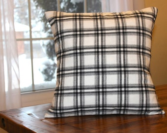 White Lumber Jack Plaid Pillow Cover, Throw Pillow, Plaid Pillow Cover, Cottage Decor, Country Decor